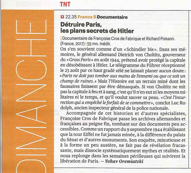 Article du magazine Télérama sur le documentaire : Détruire Paris, les plans secrets d'Hitler.