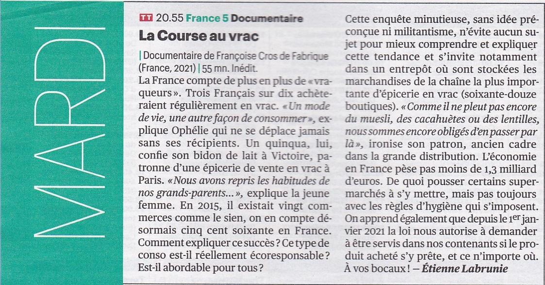"""Critique de Télérama sur le film """"La course au vrac"""""""